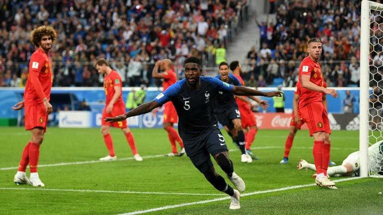 Samuel Umtiti celebrates after scoring the winner for France against Belgium