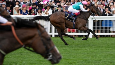 Calyx wins the Coventry Stakes at Royal Ascot with Advertise in the foreground