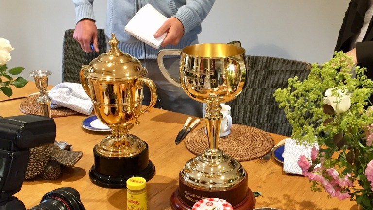 The Melbourne Cup (right) and the Ascot Gold Cup on Ed Dunlop's breakfast table