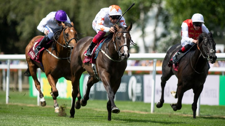 Advertise (white) and Frankie Dettori have the July Stakes in safe keeping