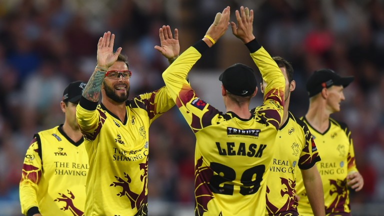 Somerset celebrates taking a wicket in the T20 Blast