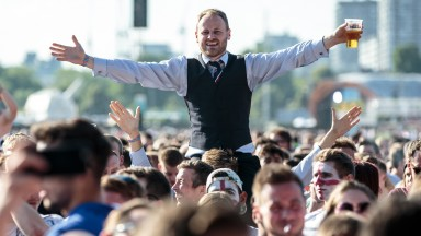 Moment in time: Waistcoat Wednesday for an England fan in Hyde Park for the World Cup semi-final