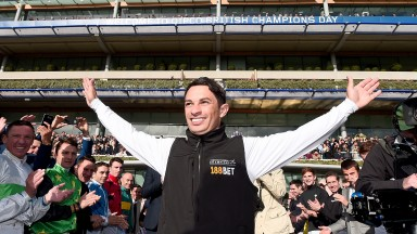Due recognition: Silvestre De Sousa receives the appreciation of his fellow jockeys as he celebrates last season's title success
