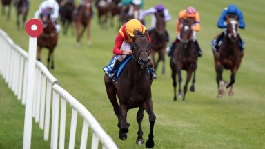 Snow Fairy and Ryan Moore win the Darley Irish Oaks The Curragh Pic:Patrick McCann 18.07.2010