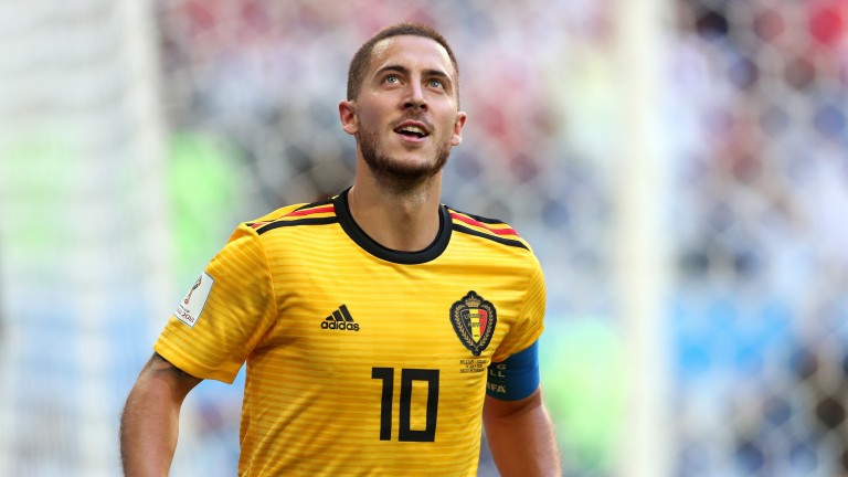 Eden Hazard celebrates his goal for Belgium