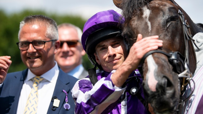 Jockey Ryan Moore, pictured with July Cup scorer US Navy Flag, is 35