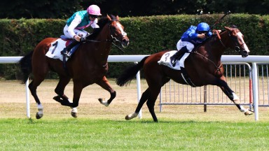 Gyllen (M Barzalona) winning the Grand Prix de Maisons-Laffitte. Prix Eugene Adam (Group 2) from Crossed Baton.Maisons-Laffitte 15.07.18pic - focusonracing.com