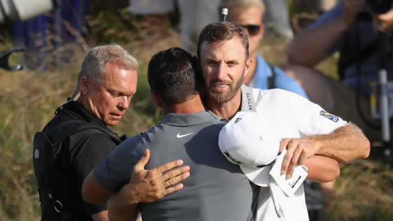 Dustin Johnson could be cuddling up to a trophy on Sunday night