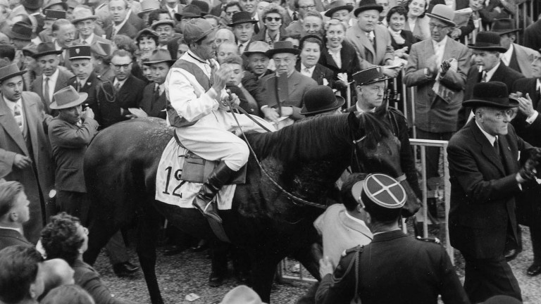 The brilliant and unbeaten Italian dual Arc winner Ribot and jockey Enrico Camici are mobbed by racegoers at Longchamp