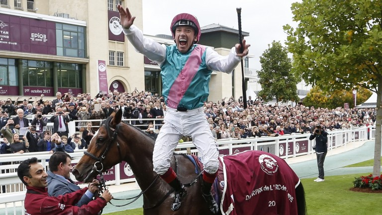 Frankie Dettori celebrates victory in the Arc at Chantilly on Enable