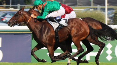 Zarkamiya and Christophe Soumillon overcame trouble in running to score Listed success at Longchamp on Saturday