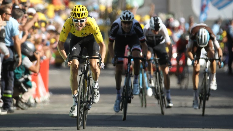 Geraint Thomas in the yellow jersey