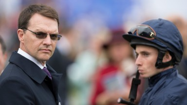 Aidan O'Brien and Ryan Moore in the paddock before winning the DewhurstNewmarket 10.10.15 Pic: Edward Whitaker
