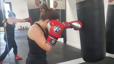 Ellie Welton getting in some training before her boxing debut next month