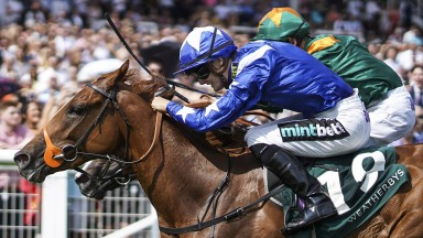 NEWBURY, ENGLAND - JULY 21:  Harry Bentley riding Ginger Nut (blue) win The Weatherbys Super Sprint Stakes at Newbury Racecourse on July 21, 2018 in Newbury, United Kingdom. (Photo by Alan Crowhurst/Getty Images)