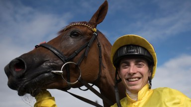 James Doyle smiles after victory in the Darley Irish Oaks (Group 1) on Sea Of Class.The Curragh.Photo: Patrick McCann 21.07.2018