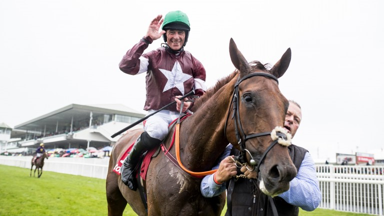 Davy Russell and Balko Des Flos after their victory in the 2017 Galway Plate