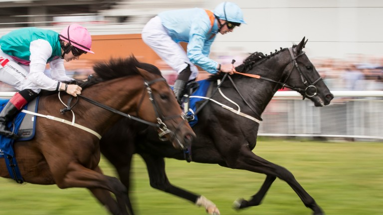 Marie's Diamond and James Doyle (right) land the Anglesey Stakes at the Curragh