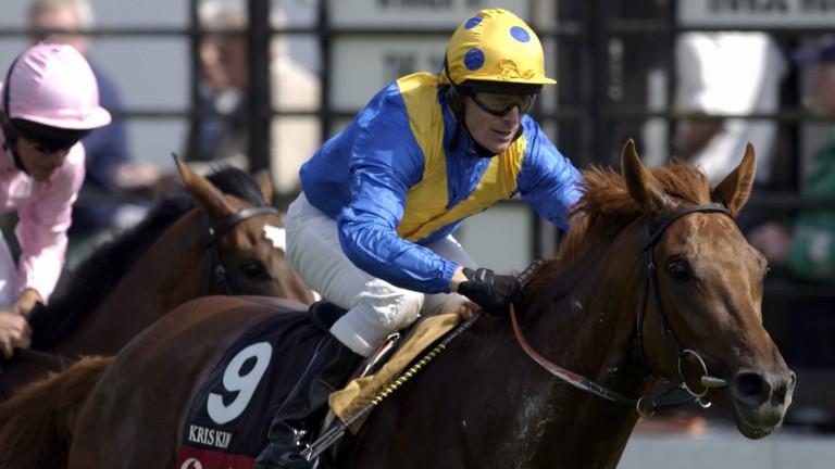 Kris Kin: the Saeed Suhail colourbearer wins the 2003 Derby