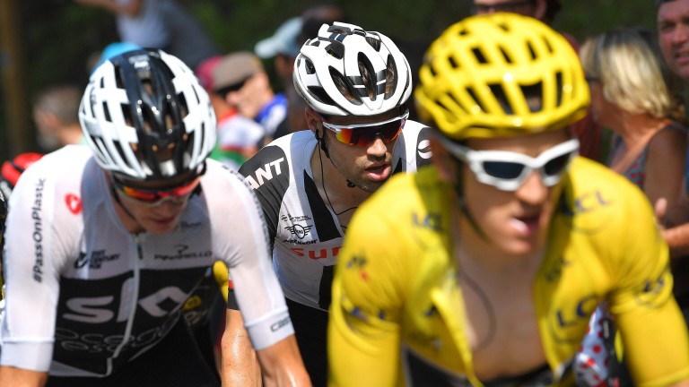 Geraint Thomas (yellow jersey), Chris Froome and Tom Dumoulin on Stage 19