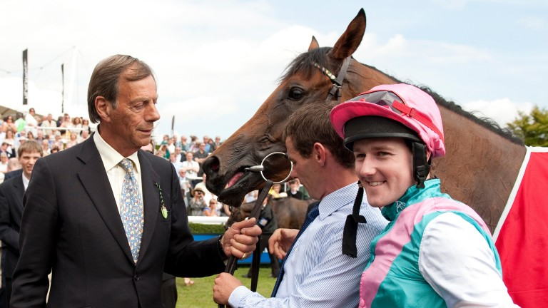 Sir Henry Cecil with Midday and Tom Queally after their third victory in the Nassau Stakes in 2011
