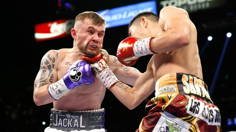 MGM blockbuster: Carl Frampton takes one on the chin from Leo Santa Cruz in his WBA title fight held at the famous MGM Grand in Las Vegas, part of the MGM empire that is courting Ladbrokes Coral