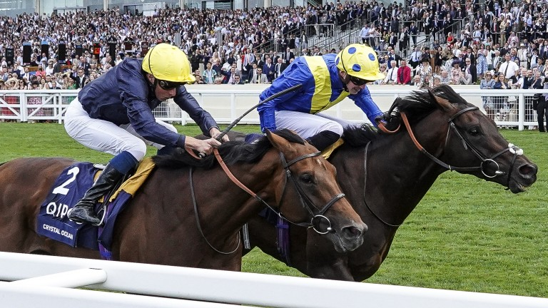 ASCOT, ENGLAND - JULY 28:  James Doyle riding Poets Word (R) win The King George VI And Queen Elizabeth Stakes from Crystal Ocean (L)  and William Buick at Ascot Racecourse on July 28, 2018 in Ascot, United Kingdom. (Photo by Alan Crowhurst/Getty Images)
