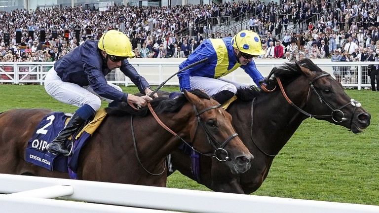 William Buick (near side) and James Doyle fight out the finish in this year's King George on Crystal Ocean and Poet's Word