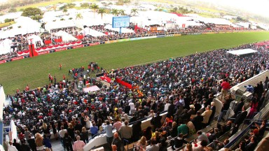 DURBAN, SOUTH AFRICA - JULY 06: General view during the 2013 Vodacom Durban July at Greyville Racecourse on July 06, 2013 in Durban, South Africa. The main race of the day, the President's Champions Challenge, was won for the first time by a black jockey;