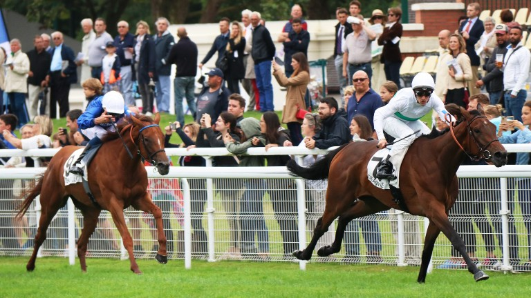 With You and a jubilant Aurelien Lemaitre storm clear in the Prix Rothschild at Deauville
