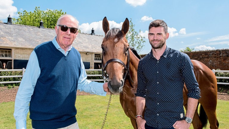 England cricketer Jimmy Anderson, pictured right with his horse Guanabara Bay and trainer Martin Meade, is 36