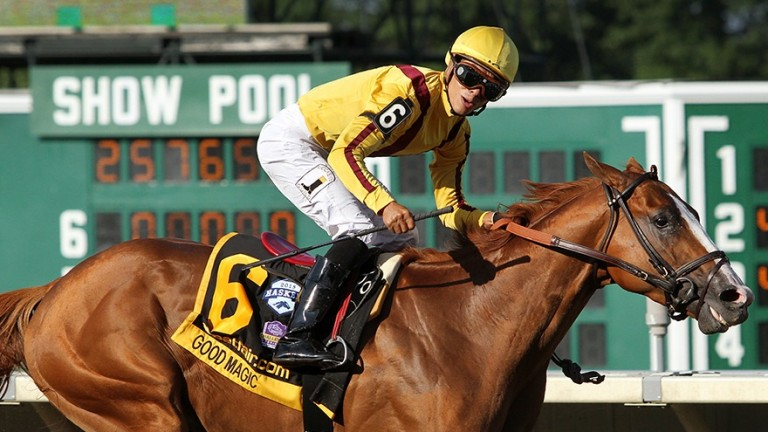Good Magic and jockey Jose Ortiz win the Haskell Invitational