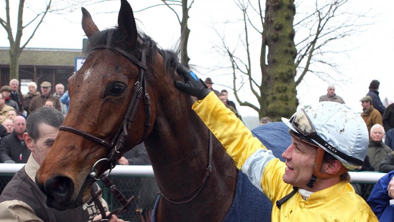 Christophe Pieux and Kasbah Bliss after the French champion won the Rendlesham Hurdle at Haydock in 2009