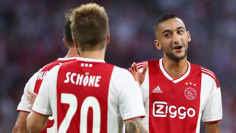 First-leg goalscorers Lasse Schone (left) and  Hakim Ziyech (right) of Ajax