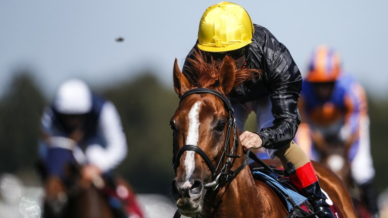 Andrea Atzeni makes the most of Frankie Dettori's ban by landing the Group 1 prize