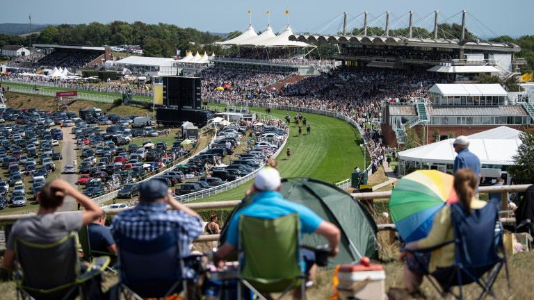 Racegoers enjoy the racing and sunshine from Trundle Hill on Wednesday