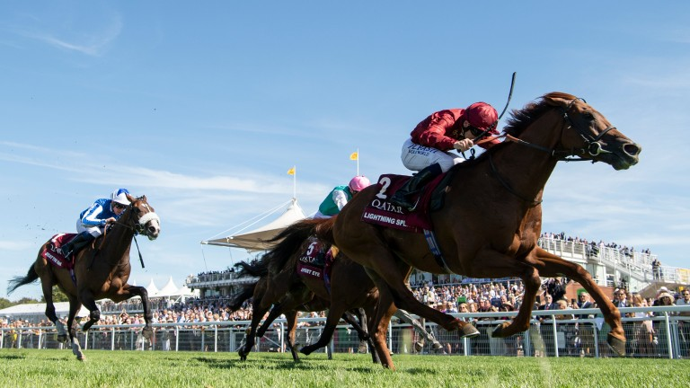 Lightning Spear wins the Sussex Stakes under Oisin Murphy