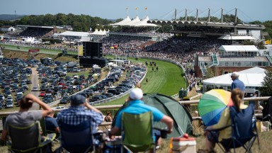 Racegoers on Trundle Hill watch LilRockerfeller win the 2m 5f handicap by 15 lengthsGoodwood 1.8.18 Pic: Edward Whitaker