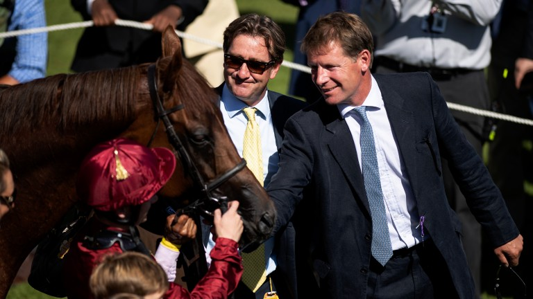 Look of love: Lightning Spear with trainer David Simcock (right) and Qatar Racing's David Redvers
