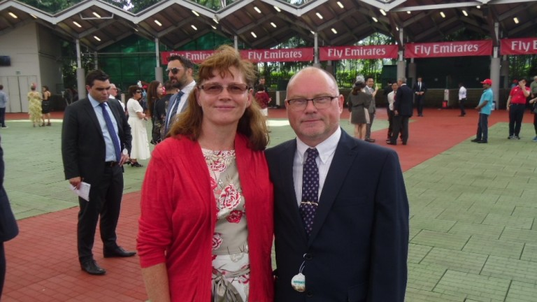 Betting Shop Manager of the Year Ron Hearn with his wife Julie in Singapore in July