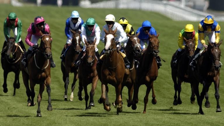 Mont Etoile (left): gets up on the rail to win the Ribblesdale Stakes in 2006 after some timely advice from Lester Piggott