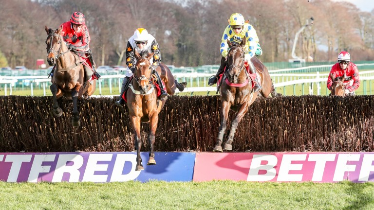 Charlie Deutsch (right) on his way to the biggest win of his career so far on the Venetia Williams-trained Yala Enki in the Betfred Grand National Trial at Haydock in March