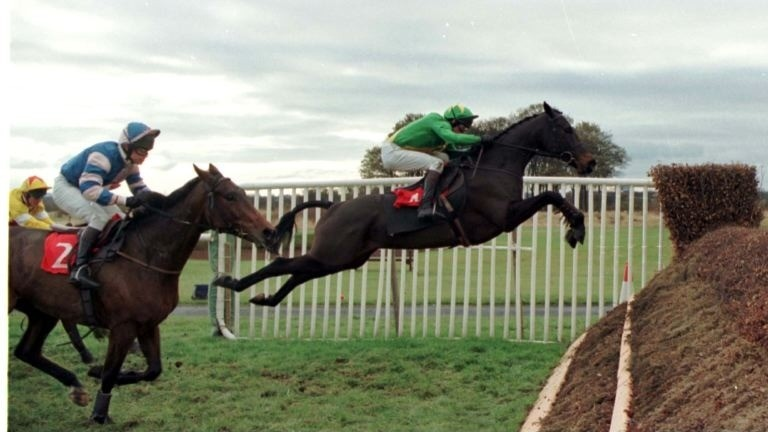 Sparky Gayle puts in a flying leap en route to victory at Newcastle