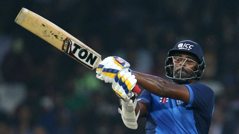 Thisara Perera on his way to 61 for the World 11 against the West Indies at Lord's