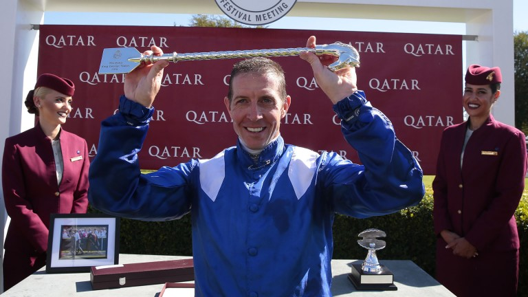Time to celebrate: Jim Crowley after his emphatic victory on Battaash