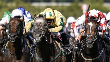 Jason Hart and Lord Riddiford (centre) win the Tatler Handicap Stakes at Goodwood