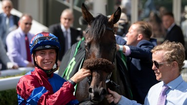 Jason Watson is all smiles after his big-race success with Gifted Master