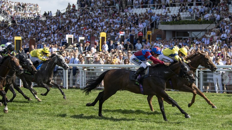 All out: Gifted Master (near) denies Justanotherbottle for Jason Watson and Hugo Palmer in the Unibet Stewards' Cup