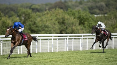 Easy peasy: the Charlie Appleby-trained Cross Counter lengthens clear of Dee Ex Bee in the Group 3 Qatar Gordon Stakes