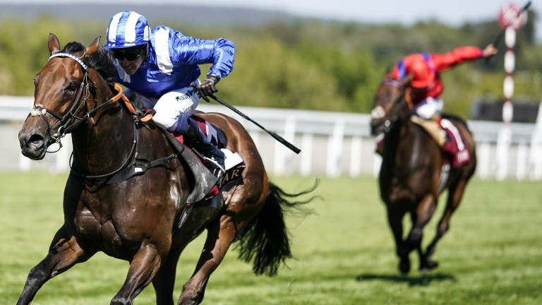 Battaash and Jim Crowley finish four lengths clear of Take Cover in the King George Stakes